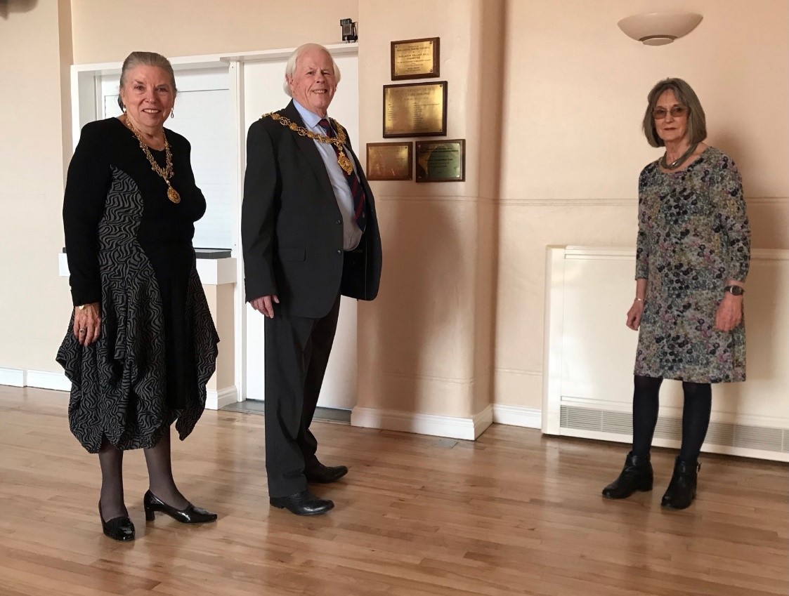 The Mayor and Mayoress of Stafford dedicate a plaque in Barlaston Village Hall to the memory of Patrick Lineham
